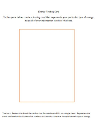 Energy Trading Card Template