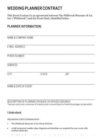 Event and Wedding Planner Contract