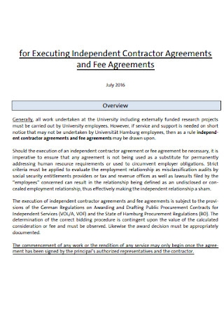 Executing Independent Contractor Agreement