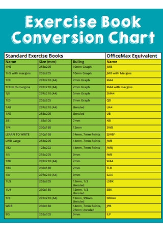 Exercise Book Conversion Chart