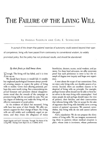 Failure of Living Will1