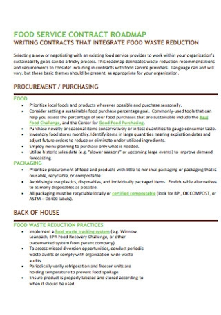 Food Service Contract Roadmap Template