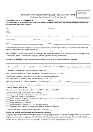 Food Vendor Contract Form