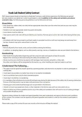 Foods Lab Student Safety Contract
