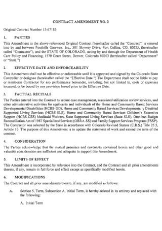 Formal Amendment Contract