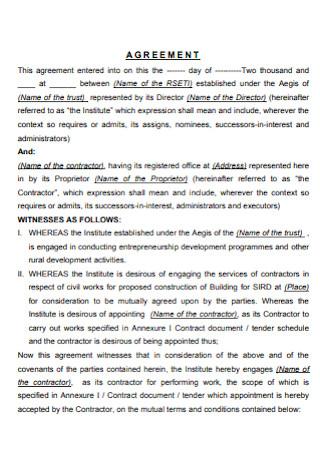 Formal Contractors Agreement