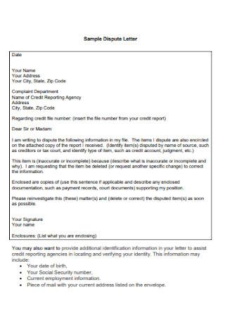 Formal Credit Dispute Letter