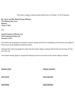 Formal Interior Design Contract