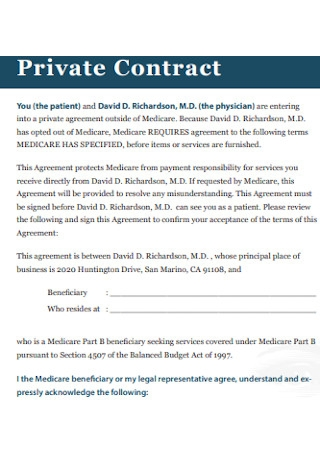 Formal Private Contract Template