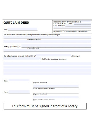 Formal Quit Calm Deed Form
