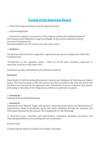 Format of the Appraisal Report