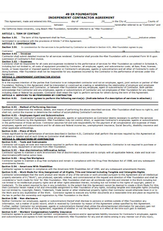 Foundation Contractor Agreement