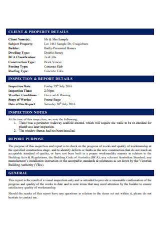 Frame Inspection Report