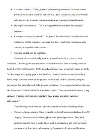 Framework for Customer Relationship Management