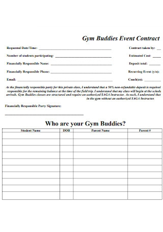 Gym Buddies Event Contract