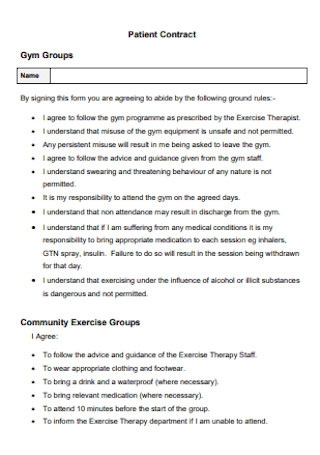 Gym Groups Patient Contract