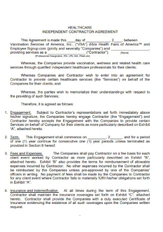 Healthcare Contractor Agreement