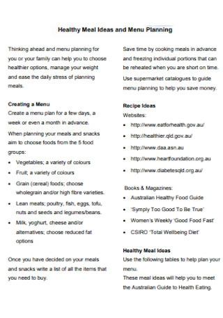 Healthy Meal Ideas and Menu Plan