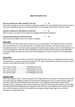 High Bill Checklist Form