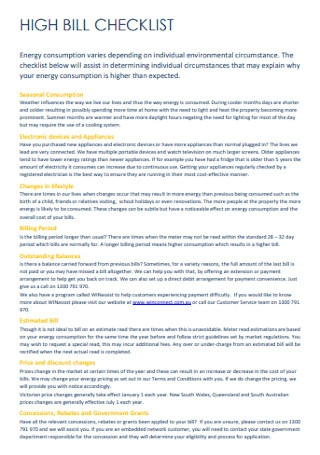 High Bill Pay Checklist