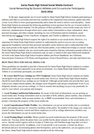 High School Social Media Contract