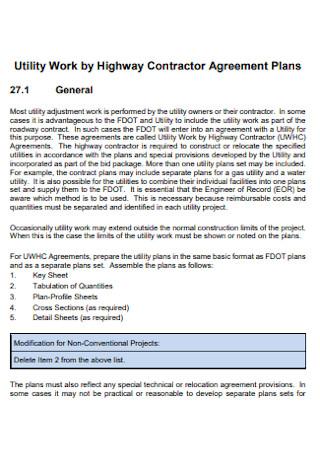 Highway Contractor Agreement Plan