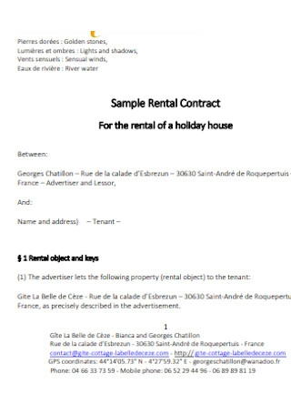 Holiday House Rental Contract