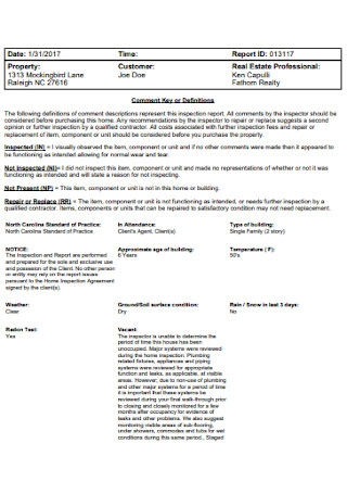 Home Inspection Report Example