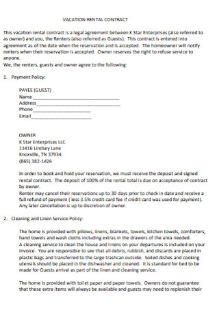 Home Vacation Rental Contract
