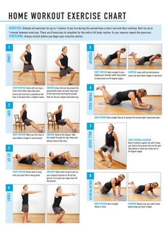 Home Workout Excercise Chart