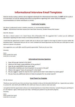 Informational Interview Email Templates