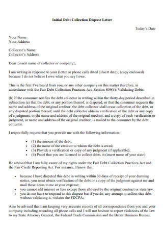 Initial Debt Collection Dispute Letter