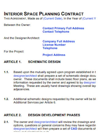 Interior Space Planning Design Contract