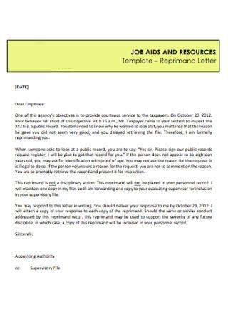 Job Reprimand Letter