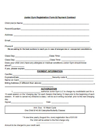 Junior Gym Payment Contract