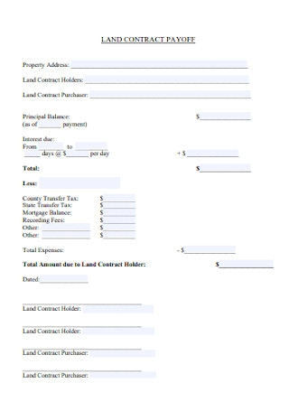 Land Contract Payoff Form