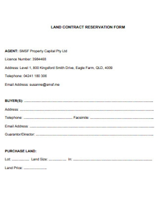 Land Contract Reservation Form