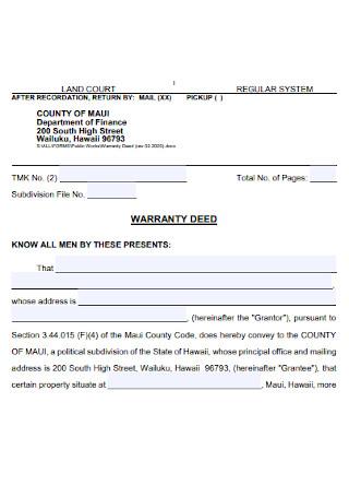 Land Warranty Deed