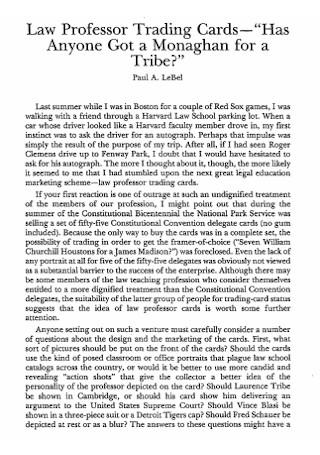 Law Professor Trading Card
