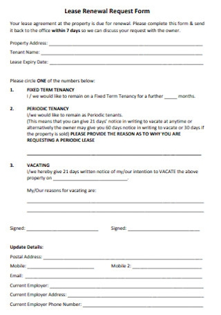 Lease Renewal Request Form