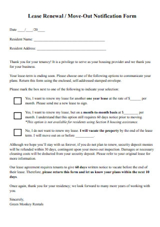 Lease Renewal and Move Out Notification Form