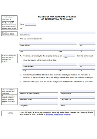 Lease or Termination Renewal Form