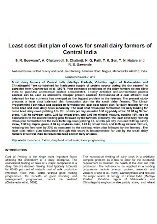 Least Cost Diet Plan of Cows