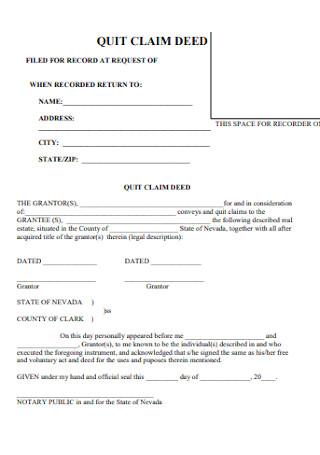 Legal Brief Quit Calm Deed Form