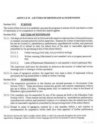 Letter of Reprimand and Suspension
