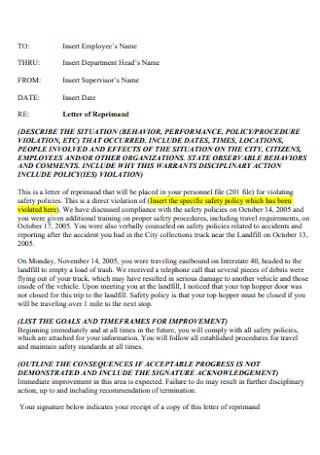 Letter of Supervisor Reprimand