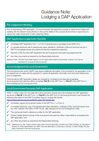 Lodging a DAP Application Note