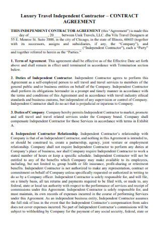 Luxury Travel Contractor Agreement