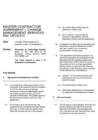 Master Contractor Agreement