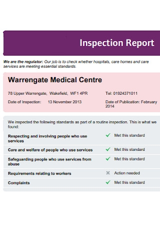 Medical Inspection Report